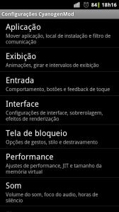 CyanogenMod 7 - Milestone - Configuracoes2
